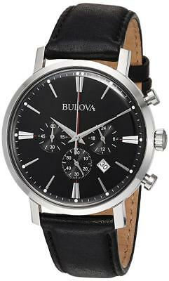 Bulova Men's Quartz Stainless Steel and Leather Casual Watch, Color:Black...
