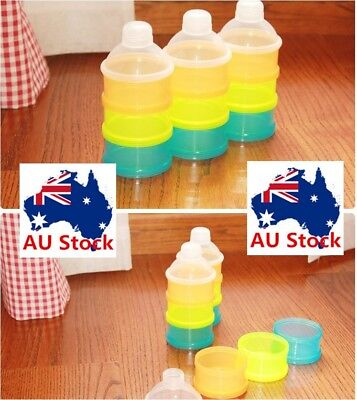 Portable Baby Formula Dispenser Bottle Feeding Snack Fruit 3Layer Container Case