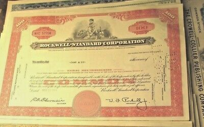 11 diff. Stock Certificates Rockwell Great Condition Vintage Beautiful Old