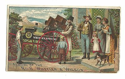 Old Trade Card Wheeler & Wilson Sewing Machine Arrival Of No 8 Salesman Family