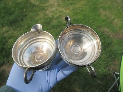 Revere Silversmiths STERLING SILVER  Cream & Sugar Bowls No. 1049-Uncleaned