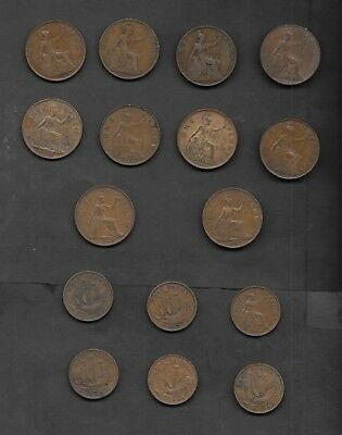 Great Britain 16 Coins Lot of Large Penny & 1/2 Penny Coins - Nice Mix -
