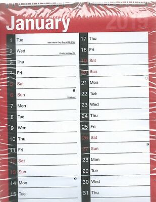 2019  Wall Calender Red And White With 1 Month To View Space To Write In Sealed