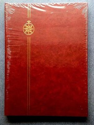 ⭐️Compass Stockbook⭐️A4 Burgundy Stamp Album -8 Pages/ 16sides ~BLACK PAGED
