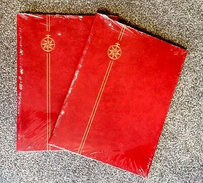 x2⭐️*Quality** A4 Burgundy Stamp Album Stockbooks -8 Pages/ 16sides ~BLACK PAGED