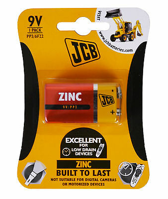 JCB 9v 9 VOLT BLOCK BATTERY CELL PP3 GENUINE ZINC CHLORIDE BATTERIES