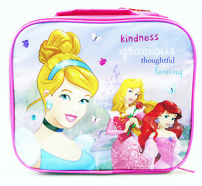 Disney Princess Insulated Thermal Lunch Bag Handle Box School Pink Fairies Girls