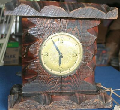 Antique Vintage Large Carved Wood Mantel Clock Tramp Art  w Lanshire Movement