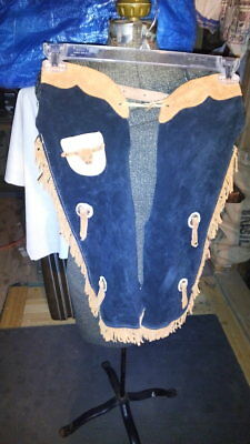 """vtg children's rodeo western leather cowboy chaps w 23-30"""" i15"""""""