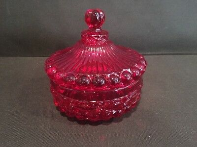 Ruby Red Glass Round Covered Candy Dish - Mosser Eyewinker Pattern