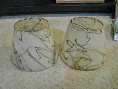 """Pair Vintage Mid Century Modern Small Clip-On Fiberglass Laced Lamp Shade 6"""""""
