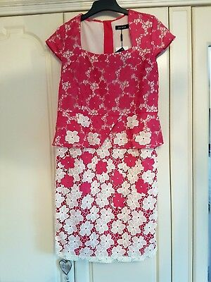 mother of the bride/ladies wedding/races dress size 14 pink and cream lace
