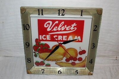"Vintage 1950's Velvet Ice Cream 16"" Lighted Clock Gas Oil Soda Pop Sign~Works"