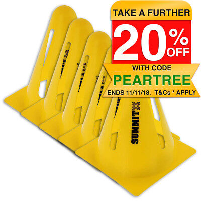 5x Summit Flexi Cones Soccer/Rugby/Fitness/Exercise/Sports/Training Cone Yellow