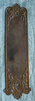 Stately ANTIQUE Cast Bronze not iron FRENCH Ornate Finger Door Push Plate