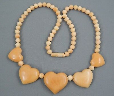 """Vintage Art Deco Era Carved Butterscotch Stone Bead Puffy Heart Necklace 20"""""""