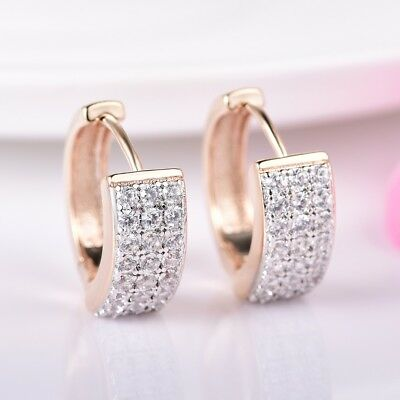 Dazzling Charms Sapphire Crystal Gold Platinum Filled Hoop Earrings Lady Jewelry