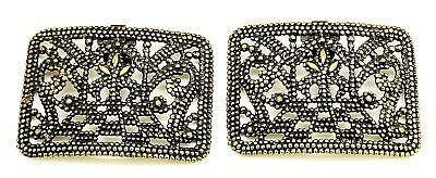 Antique Vintage Pair Large Square SET Applied Pressed Steel Shoe Clips Buckles