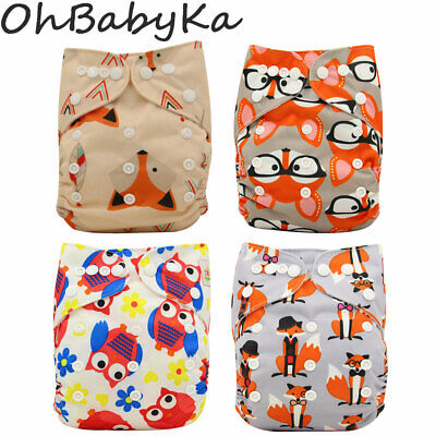 Baby Cloth Diaper Unisex One Size Reusable Washable Pocket Nappy Cover + 1Insert