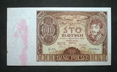 Old Banknote Of Poland 100 Zloty 1934 J. Poniatowski Second Republic Ar 7432935