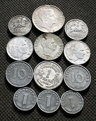 Lot Twelve Old Coins Europe (Italy-Spain-Germany-France) World War Ii - Mix 738