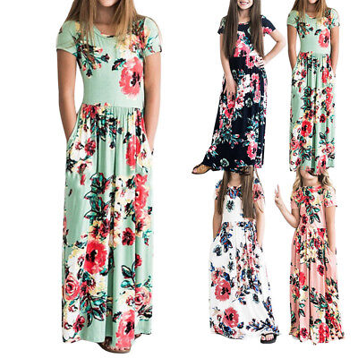 4a3b0f89a1850 Kids Girls Long Sleeve Floral Maxi Dress Inafant Outfit Holiday Party  Dresses