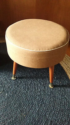 Retro Vintage brown/orange Vinyl Wooden legged round Mid Century Vinyl Footstool