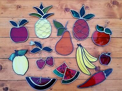 Vintage Fruit & Vegetable Stained Glass Art Light Sun Catcher Window Hanging LOT