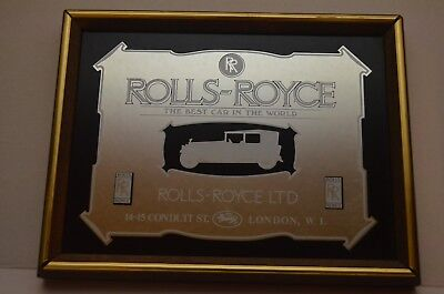 """Vintage """"Rolls-Royce: The Best Car In The World"""" Mirrored Plaque"""