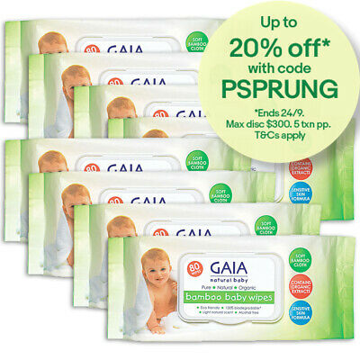 Gaia 640PK Natural/Pure/Organic Bamboo Baby/Kid Wipes Lightly Scent/Free Alcohol
