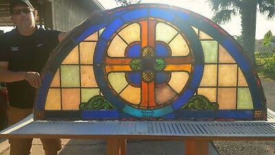 Mid-1800s Antique Stained Glass Transom Window Architectual Salvage Reclaimed