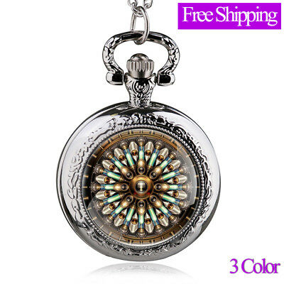 Antique Quartz Pocket Watch  Stainless Steel Punk Watches Jewelry Necklace Gifts