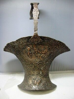 Antique Victorian Silver Plate Chased Cherub Repousse BRIDAL Basket SCONCE OOAK