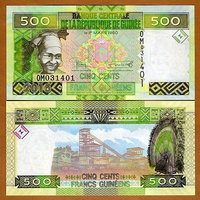 Guinea, 500 francs, 2015, Pick New, UNC > Redesigned