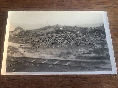 Real Photo Postcard Chinese Houses demolished Kowloon Hong Kong Natural Disaster
