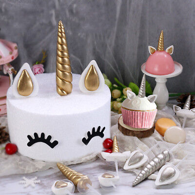 Gold Silver Unicorn Horn Ear Cake Cupcake Topper Baby Birthday Party Decoration
