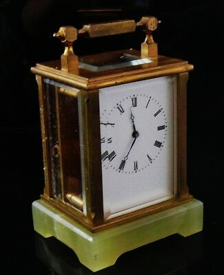 Vintage Brass Carriage Clock on Onyx Base, Movement marked GJB, Working with key