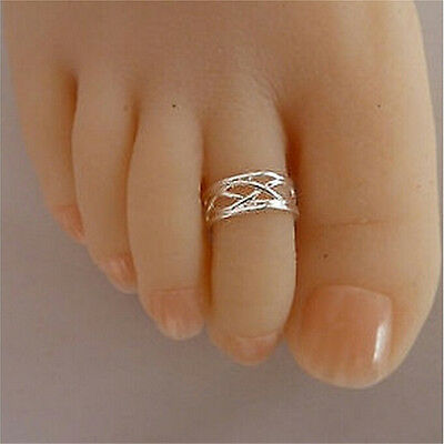 Celebrity Fashion Simple Sliver Plated Adjustable Toe Ring Foot Jewelry oQ