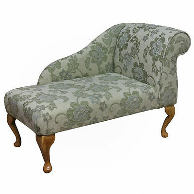 "41"" Small Chaise Longue Chair in a Floral Green Fabric"