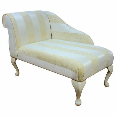 "41"" Small Chaise Longue Chair in a Woburn Gold Stripe Fabric - FREE UK DEL"