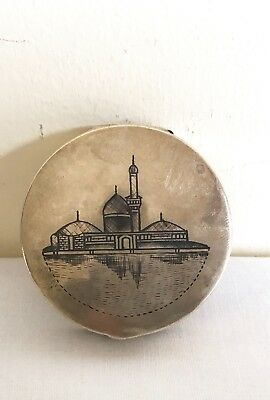 Fine Antique Iraq Marsh Arab Islamic Madan Niello Inlaid Solid Silver Snuff Box