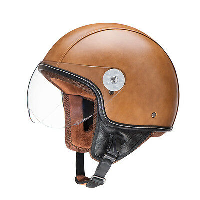 Leather Motorcycle Vintage Half Helmet Motorcycle Biker Cruiser Scooter