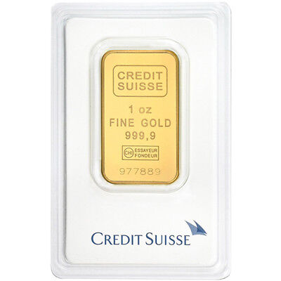 1 oz Gold Bar Credit Suisse - .9999 Gold Bar Minted in Assay - Valcambi Suisse