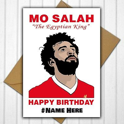 Liverpool Fc Mo Salah Personalised Birthday Card Any Name Or