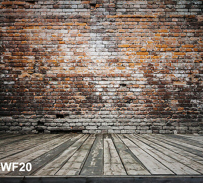 Retro Brick Wall Wood Plank Vinyl Studio Backdrop Photography Background 10x10ft