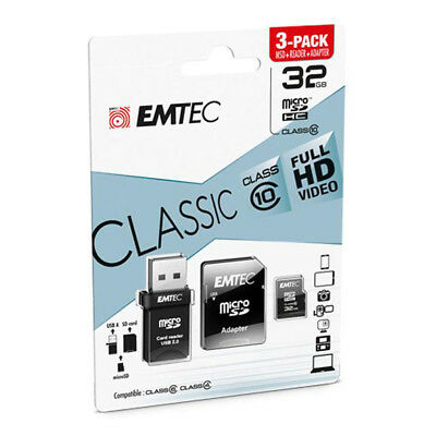 kQ Emtec MicroSDHC 32GB Speicherkarte 3in1 SD / USB Adapter Class 10 CLASSIC