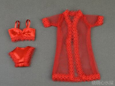3in1 sexy Lace Red Nightgown sleepcoat +Underwear  For 11.5in.Doll Clothes