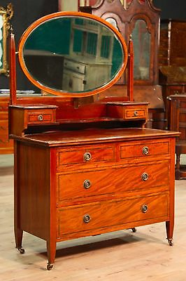 Toilet commode dresser chest of drawers inlaid furniture mirror antique 900 XX