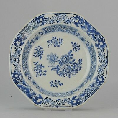 Lovely Antique Chinese Porcelain 18C Qianlong Cobalt Blue Flowers plate