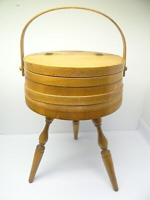 Vintage Wood 3 Legged Sewing Box Circular Stand Large Container Wooden Used